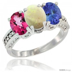 14K White Gold Natural Pink Topaz, Opal & Tanzanite Ring 3-Stone 7x5 mm Oval Diamond Accent