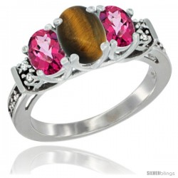 14K White Gold Natural Tiger Eye & Pink Topaz Ring 3-Stone Oval with Diamond Accent