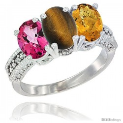 14K White Gold Natural Pink Topaz, Tiger Eye & Whisky Quartz Ring 3-Stone 7x5 mm Oval Diamond Accent