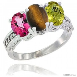 14K White Gold Natural Pink Topaz, Tiger Eye & Lemon Quartz Ring 3-Stone 7x5 mm Oval Diamond Accent
