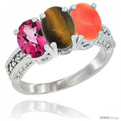 14K White Gold Natural Pink Topaz, Tiger Eye & Coral Ring 3-Stone 7x5 mm Oval Diamond Accent