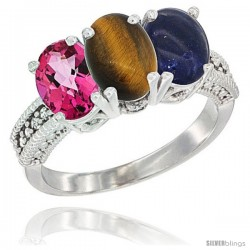 14K White Gold Natural Pink Topaz, Tiger Eye & Lapis Ring 3-Stone 7x5 mm Oval Diamond Accent