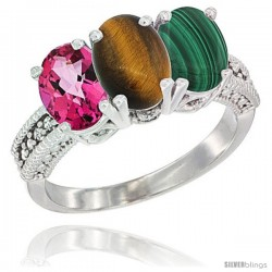 14K White Gold Natural Pink Topaz, Tiger Eye & Malachite Ring 3-Stone 7x5 mm Oval Diamond Accent