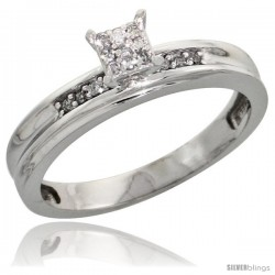 Sterling Silver Diamond Engagement Ring Rhodium finish, 1/8inch wide -Style Ag020er