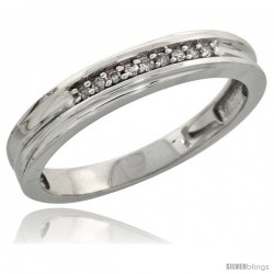 Sterling Silver Ladies' Diamond Wedding Band Rhodium finish, 1/8 in wide -Style Ag020lb