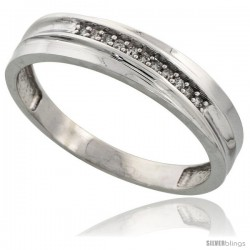 Sterling Silver Men's Diamond Wedding Band Rhodium finish, 3/16 in wide -Style Ag020mb
