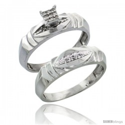 Sterling Silver Ladies' 2-Piece Diamond Engagement Wedding Ring Set Rhodium finish, 3/16 in wide -Style Ag021e2