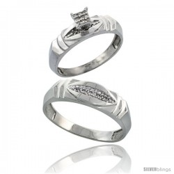 Sterling Silver 2-Piece Diamond wedding Engagement Ring Set for Him & Her Rhodium finish, 5mm & 6mm wide -Style Ag021em