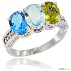 10K White Gold Natural Swiss Blue Topaz, Aquamarine & Lemon Quartz Ring 3-Stone Oval 7x5 mm Diamond Accent