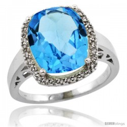 10k White Gold Diamond Swiss Blue Topaz Ring 5.17 ct Checkerboard Cut Cushion 12x10 mm, 1/2 in wide