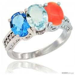 10K White Gold Natural Swiss Blue Topaz, Aquamarine & Coral Ring 3-Stone Oval 7x5 mm Diamond Accent