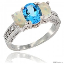 14k White Gold Ladies Oval Natural Swiss Blue Topaz 3-Stone Ring with Opal Sides Diamond Accent