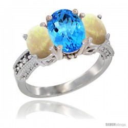 14K White Gold Ladies 3-Stone Oval Natural Swiss Blue Topaz Ring with Opal Sides Diamond Accent
