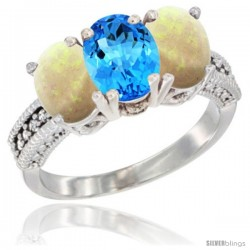 14K White Gold Natural Swiss Blue Topaz & Opal Sides Ring 3-Stone 7x5 mm Oval Diamond Accent