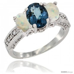 14k White Gold Ladies Oval Natural London Blue Topaz 3-Stone Ring with Opal Sides Diamond Accent
