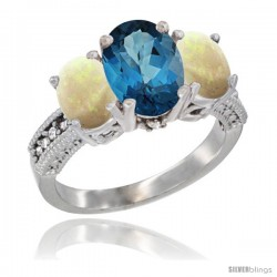 14K White Gold Ladies 3-Stone Oval Natural London Blue Topaz Ring with Opal Sides Diamond Accent