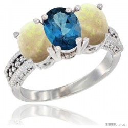 14K White Gold Natural London Blue Topaz & Opal Sides Ring 3-Stone 7x5 mm Oval Diamond Accent