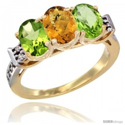 10K Yellow Gold Natural Whisky Quartz & Peridot Sides Ring 3-Stone Oval 7x5 mm Diamond Accent