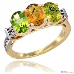 10K Yellow Gold Natural Peridot, Whisky Quartz & Lemon Quartz Ring 3-Stone Oval 7x5 mm Diamond Accent