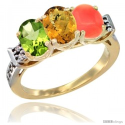 10K Yellow Gold Natural Peridot, Whisky Quartz & Coral Ring 3-Stone Oval 7x5 mm Diamond Accent