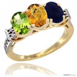 10K Yellow Gold Natural Peridot, Whisky Quartz & Lapis Ring 3-Stone Oval 7x5 mm Diamond Accent