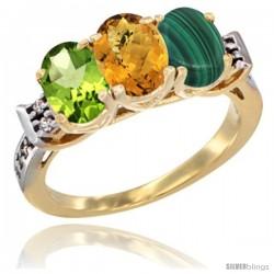 10K Yellow Gold Natural Peridot, Whisky Quartz & Malachite Ring 3-Stone Oval 7x5 mm Diamond Accent