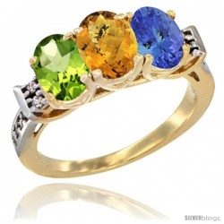 10K Yellow Gold Natural Peridot, Whisky Quartz & Tanzanite Ring 3-Stone Oval 7x5 mm Diamond Accent