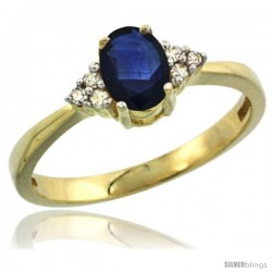 14k Yellow Gold Ladies Natural Blue Sapphire Ring oval 6x4 Stone Diamond Accent