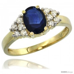 14k Yellow Gold Ladies Natural Blue Sapphire Ring oval 8x6 Stone Diamond Accent