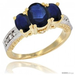 14k Yellow Gold Ladies Oval Natural Blue Sapphire 3-Stone Ring Diamond Accent