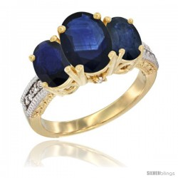 14K Yellow Gold Ladies 3-Stone Oval Natural Blue Sapphire Ring Diamond Accent