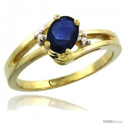 14k Yellow Gold Ladies Natural Blue Sapphire Ring oval 6x4 Stone Diamond Accent -Style Cy416165