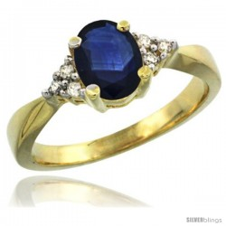 14k Yellow Gold Ladies Natural Blue Sapphire Ring oval 7x5 Stone Diamond Accent -Style Cy416168