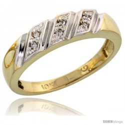 10k Yellow Gold Ladies Diamond Wedding Band Ring 0.03 cttw Brilliant Cut, 3/16 in wide -Style Ljy016lb