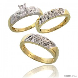 10k Yellow Gold Trio Engagement Wedding Rings Set for Him & Her 3-piece 6 mm & 5 mm wide 0.15 cttw Brilliant Cut -Style Ljy016w3