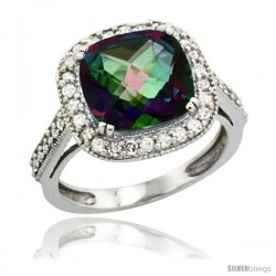 10k White Gold Diamond Halo Mystic Topaz Ring Cushion Shape 10 mm 4.5 ct 1/2 in wide