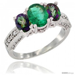 10K White Gold Ladies Oval Natural Emerald 3-Stone Ring with Mystic Topaz Sides Diamond Accent
