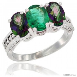 10K White Gold Natural Emerald & Mystic Topaz Sides Ring 3-Stone Oval 7x5 mm Diamond Accent