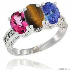 14K White Gold Natural Pink Topaz, Tiger Eye & Tanzanite Ring 3-Stone 7x5 mm Oval Diamond Accent