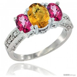 14k White Gold Ladies Oval Natural Whisky Quartz 3-Stone Ring with Pink Topaz Sides Diamond Accent