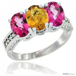 14K White Gold Natural Whisky Quartz & Pink Topaz Ring 3-Stone 7x5 mm Oval Diamond Accent