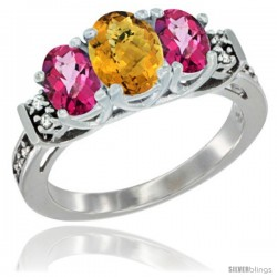 14K White Gold Natural Whisky Quartz & Pink Topaz Ring 3-Stone Oval with Diamond Accent