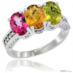 14K White Gold Natural Pink Topaz, Whisky Quartz & Lemon Quartz Ring 3-Stone 7x5 mm Oval Diamond Accent