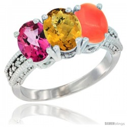 14K White Gold Natural Pink Topaz, Whisky Quartz & Coral Ring 3-Stone 7x5 mm Oval Diamond Accent