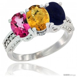 14K White Gold Natural Pink Topaz, Whisky Quartz & Lapis Ring 3-Stone 7x5 mm Oval Diamond Accent