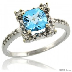 10k White Gold Diamond Halo Swiss Blue Topaz Ring 1.2 ct Checkerboard Cut Cushion 6 mm, 11/32 in wide