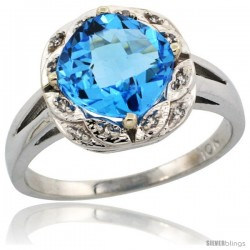 10k White Gold Diamond Halo Swiss Blue Topaz Ring 2.7 ct Checkerboard Cut Cushion Shape 8 mm, 1/2 in wide