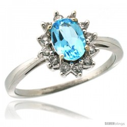 10k White Gold Diamond Halo Swiss Blue Topaz Ring 0.85 ct Oval Stone 7x5 mm, 1/2 in wide