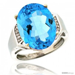 10k White Gold Diamond Swiss Blue Topaz Ring 9.7 ct Large Oval Stone 16x12 mm, 5/8 in wide