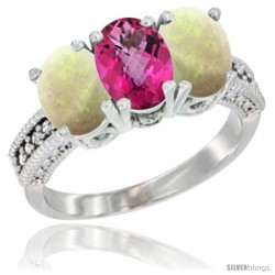 14K White Gold Natural Pink Topaz & Opal Sides Ring 3-Stone 7x5 mm Oval Diamond Accent